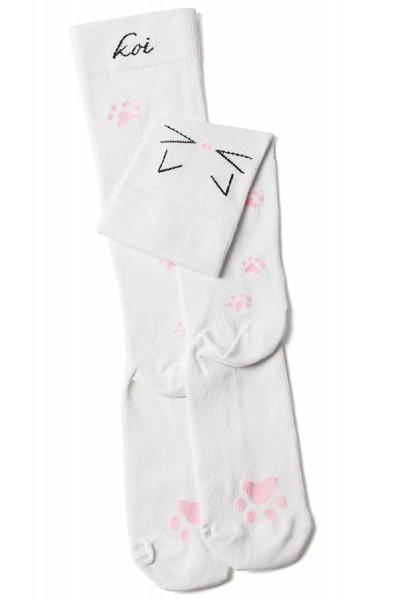 Chaussettes de contention Koi Meow Blanches