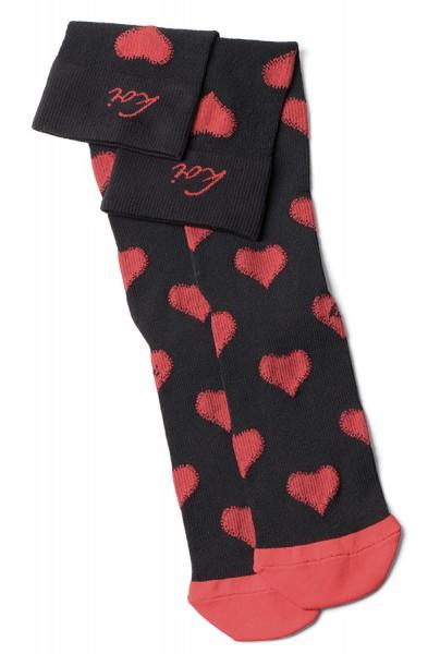 Chaussettes de contention Koi Valentine/Noir-Rouge Piment